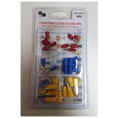 Kit 30 Pezzi Connettori Elettrici Faston Ptv Dbv Mpd Frd Occhielli Per Cavi Fili Isolatori