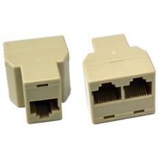 Set 2 Pezzi Sdoppiatore Sdoppiatori Splitter Lan Ethernet Femmina Cat 5e Rj45 Network 8p8c Per Cavo