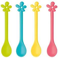 Happy gelateria degli A-Pril cucchiaio, Set di 4, uova di Pasqua a cucchiaio, zenzero giallo / corallo / senape verde / turchese, L 16,8 cm