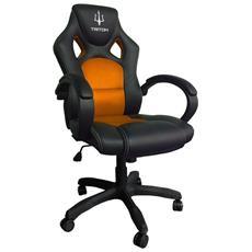 Sedia Gaming A1 in Finta Pelle Colore Nero / Arancio
