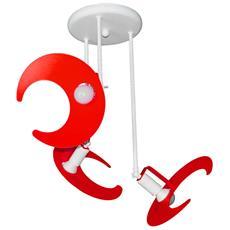 Plafoniera Sospensione Lampadario Camerette Bambini Rosso Modello Luna Completo Di Lampade Led