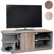Mobile Porta Tv Tavolino Salotto Arau T729 Scomparto Girevole Mdf 40x120x45cm Legno Chiaro