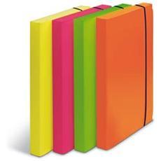 confezione da 4 pezzi - cartella progetto d. 3cm con elastico colori fluo shocking file