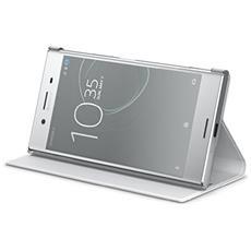 Flip Cover Custodia per Xperia XZ Premium in Pelle Colore Bianco