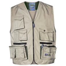 Gilet Multitasche Goodyear In Poliestere E Cotone Colore Khaki Taglia S