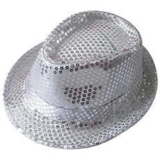 Cappello Borsalino Paillettes Argento Silver Spettacolo Teatro Paillette Ballo Cappellino Raso Uomo Donna Slim