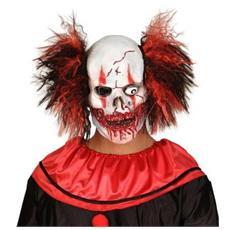 Maschera Teschio Insanguinato di Pagliaccio con Capelli in Lattice e Poliestere Multicolore