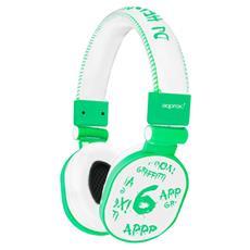 APPDJGLG, Circumaurale, Verde, Bianco, 20 - 20000 Hz, Cablato, 222 x 70 x 225 mm, 3,5 mm