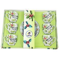 Confezione Regalo Natalizia 6 Tazze Merry Christmas
