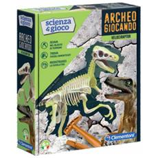 Archeogiocando Velociraptor Luminoso Al Buio, Made In Italy, Dinosauro, Gioco Scientifico Per Bambini Dai 6 Anni, Laboratorio Di Scienza, Italiano, Multicolore, 19144