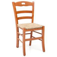 Sedia Loris in legno di faggio color ciliegio con seduta in paglia 2 Pz