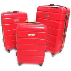 set di 3 trolley valigia abs '' rosso (51/61/71 cm) - [ n0170]