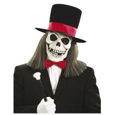 Maschera Teschio con Cappello a Cilindro in Velluto e Parrucca