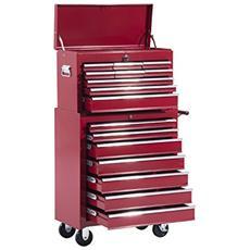 Carrello porta utensili attrezzi attrezzatura con cassettiera 61.5 x 33 x 113cm rosso
