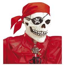 Maschera Pirata con Teschio Bandana e Orecchino Colore Bianco e Rosso