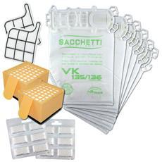Sacchetti Folletto Vk 135 Vk 136 12pz Kit Con Profumi E Filtri