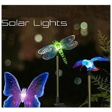 Set Da 2 Luci Led Esterne Multicolore A Forma Di Colibrì, Farfalla E Libellula Alimentate A Luce Solare
