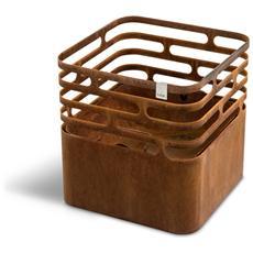 Barbecue, Braciere E Sgabello Cube Fire Basket Colore Marrone