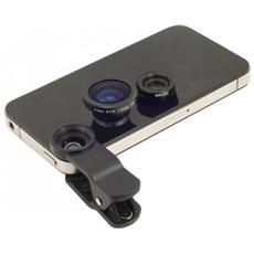 Set 2 Lenti Obiettivo Smartphone Pinza Universali Fisheye - Nero