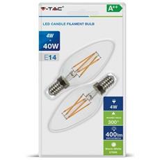 Confezione Da 2 Lampadine Led E14 4w= 40w Candela A Filamento Incrociato Vt-2104 - Sku 7282