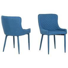 Set Di 2 Sedie Da Pranzo In Tessuto Blu Solano