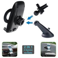Supporto Auto Universale Smartphone 2in1 Ventosa+alette Wimitech