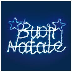 Scritta LED Buon Natale in Acrilico Colore Blu e Bianco da 52 x 23 cm