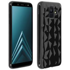 Cover Galaxy A6 Cover Silicone Gel Morbida Prisma Geometrico Forcell - Nero