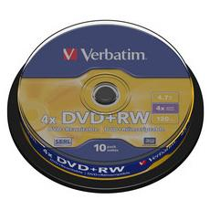 conf. 10 DVD+RW 4X 4.7GB spindle 43488 Verbatim
