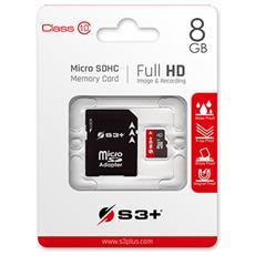 MicroSDHC 8 GB Classe-10 con Adattatore SD