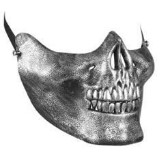 Maschera per Mento a Forma di Teschio Metallico in Polipropilene Colore Grigio