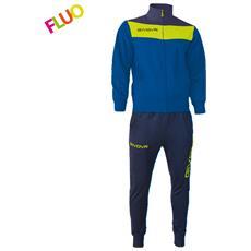 Tuta Campo Givova Completo Di Giacca A Manica Lunga E Pantalone Di Colore Azzurro / giallo Fluo Taglia 3xs