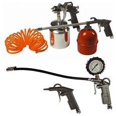 Kit 5 Accessori per Compressore Maurer: Aerografo + 3 pistole + tubo raccordato