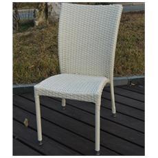 Sedia da Giardino mod. Sciacca senza Braccioli in Polyrattan Bianco 46x67x90Hcm