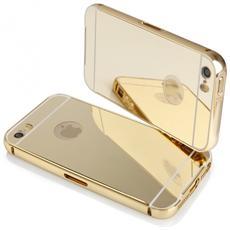 Bumper Cornice In Alluminio Per Iphone 5 & 5s Serie Luxury Oro Con Back Cover A Specchio