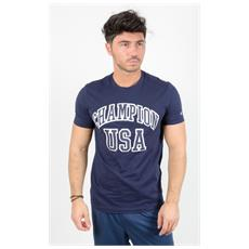 T-shirt Tee Scritta Usa Blu Xl