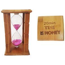 Clessidra Timer 20 Minuti A Sabbia Orologio Time Is Money'' Legno Decorazioni Hourglass Colore Casuale''