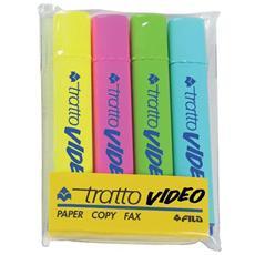 Confezione 4 pz Evidenziatore Tratto Video Tratto - assortiti - 1- 5 mm