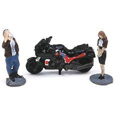 670457 Set Figures Donna+uomo+moto 1/144 Modellino