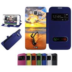 Flip Cover Blu Legno Spiaggia Tramonto Per Samsung Galaxy A3 Sm-a300f - Custodia Protettiva Richiudibile