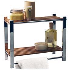 Bamboo - Mensola Per Il Bagno / Portasalviette - Argento / Naturale 35.5a X 44l X 20.5p Cm