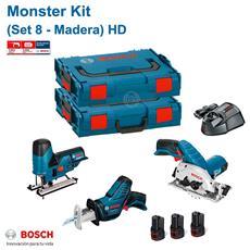 Monster Kit 12v Set 8 Hd Special Legno (gks 12v-26 + Gsa 12v-14 + Gst 12v-70 + 3 X 2,0 Ah + Gal1230cv)