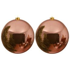 2 Palline Di Natale Rosa Champagne Lucido 14cm Albero Di Natale Addobbi Decorazioni