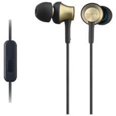 Cuffie intrauricolari con involucro in ottone, driver al neodimio da 12 mm e telecomando e microfono in linea