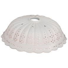Piatto Paralume In Ceramica Bianca Traforata Diam. 31x10 Cm