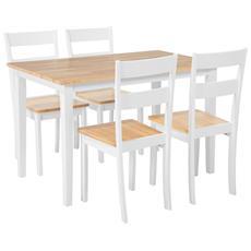 Set Da Pranzo In Legno 4 Persone, Tavolo 114 Cm Georgia