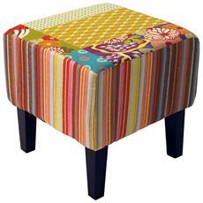 Patchwork - Shabby Chic Piazza Pouf Sgabello / Legno Gambe - Multicolore 35.5a X 35l X 35p Cm