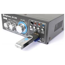 AV-360, Terminali a morsetto, Stereo, FM, MP3, SD