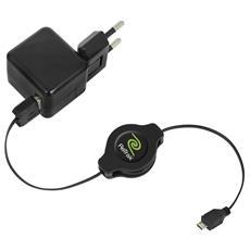 ALIMENTATORE USB da CASA 1P RETRAK EUCHGWSCM5 + Cavo100cm USB-microUSB retrattile Nero Out: 1,0A 0816983010291