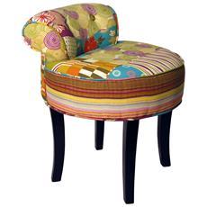 Patchwork - Shabby Chic Dressing Sedia Sgabello / Legno Gambe - Multicolore 58.5a X 47l X 47p Cm
